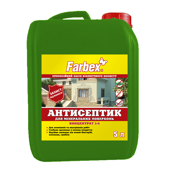 Antiseptic conctentrate for mineral and wooden surfaces 1:4
